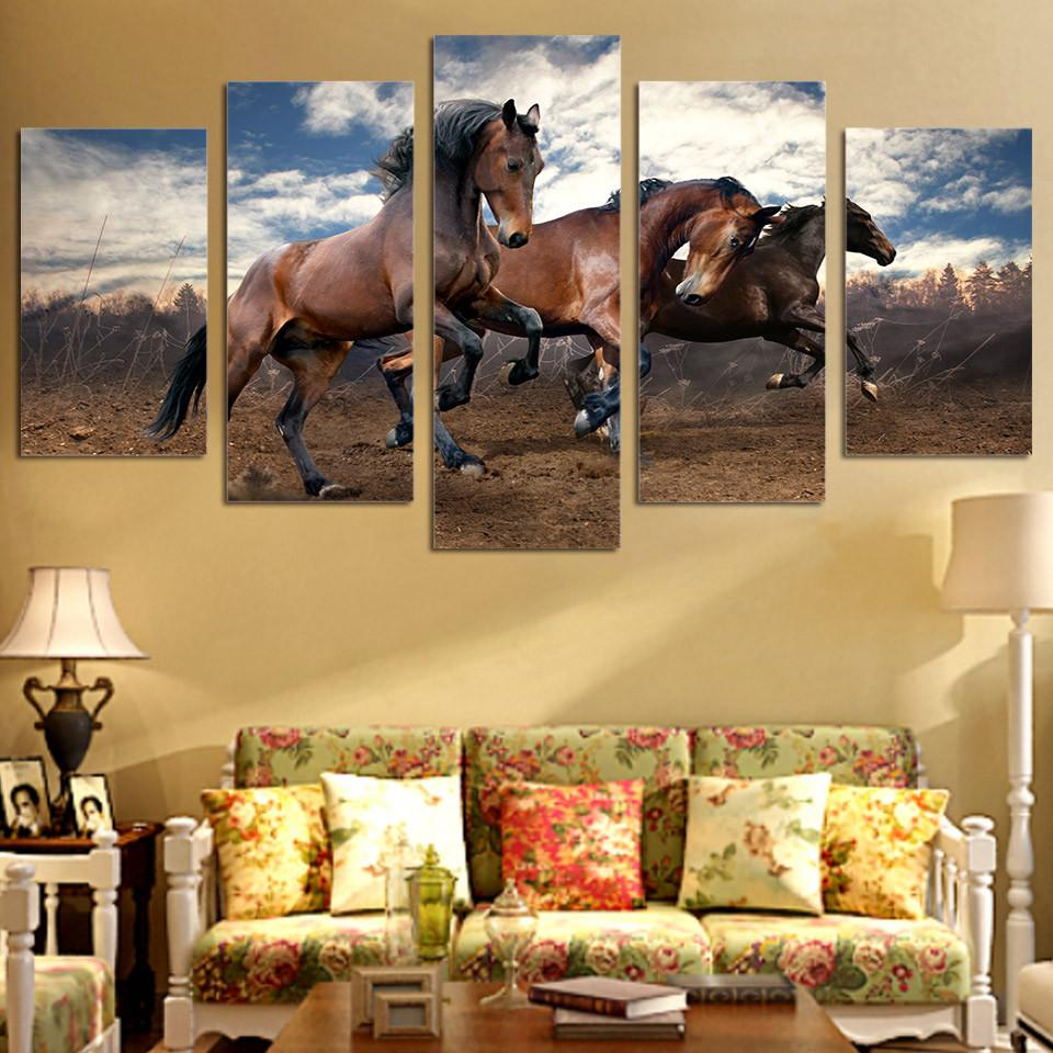 5 Panel The Running Horses Canvas