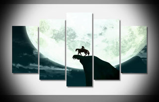"5 Panel ""Link And Epona Moonlight Shadow"" Zelda Canvas"