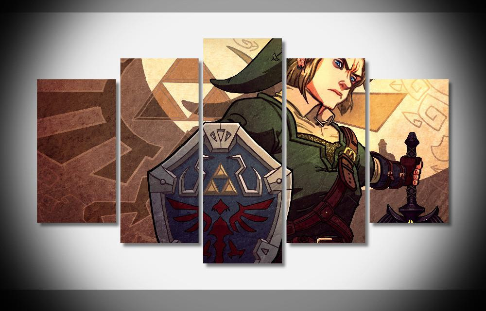 "5 Panel ""Link the Hero of time"" Zelda Canvas"