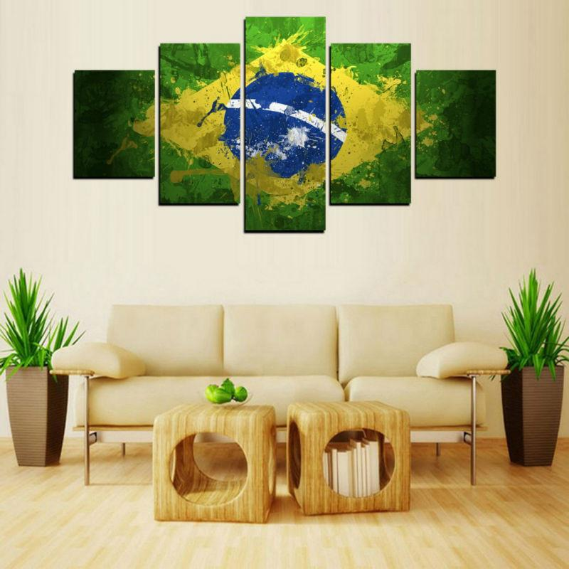 5 Piece Brazil Flag Canvas