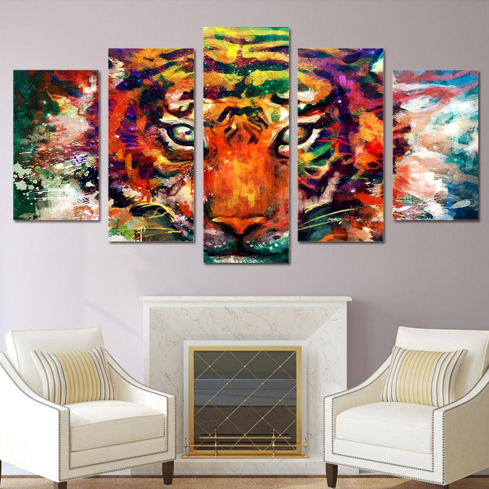5 Panel Abstract Tiger Canvas