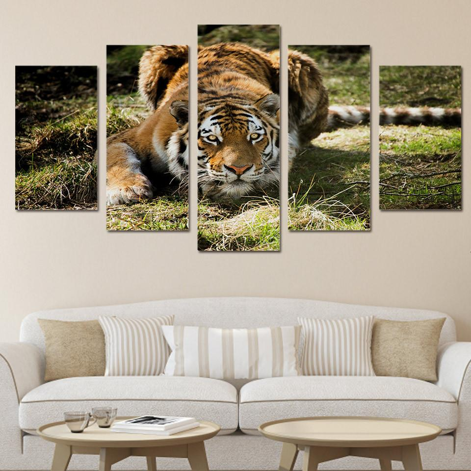 5 Panel Hunting Tiger Canvas