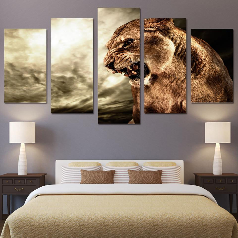 5 Panel The Ferocious Tiger Canvas