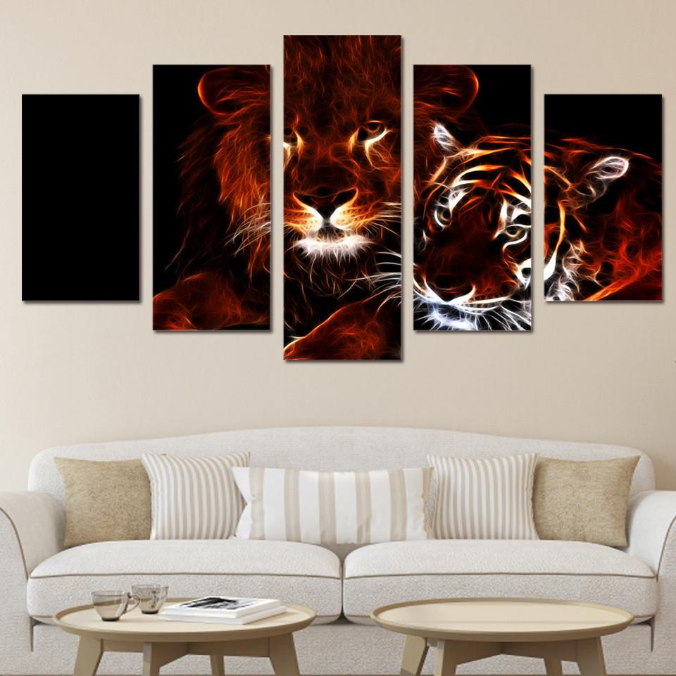 5 Panel Glowing Lion Canvas