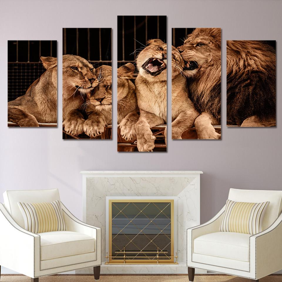 5 Panel Lion Zoo With Tiger Canvas