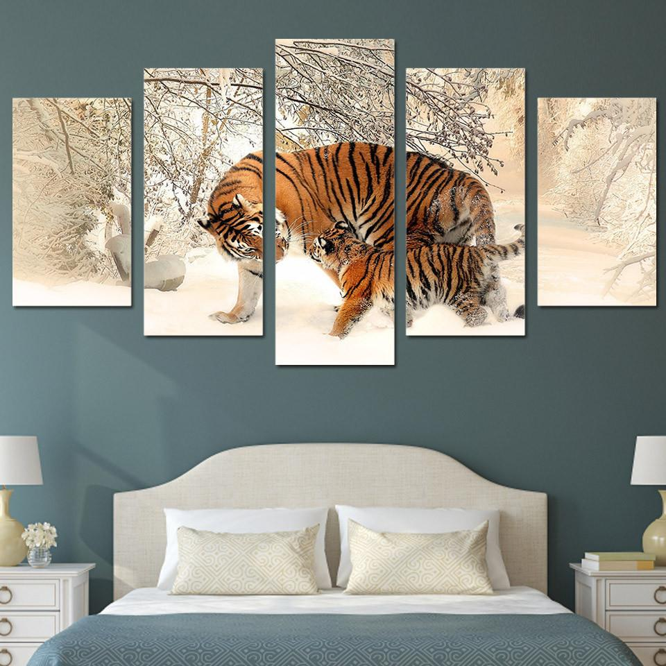 5 Panel Family Tiger Canvas