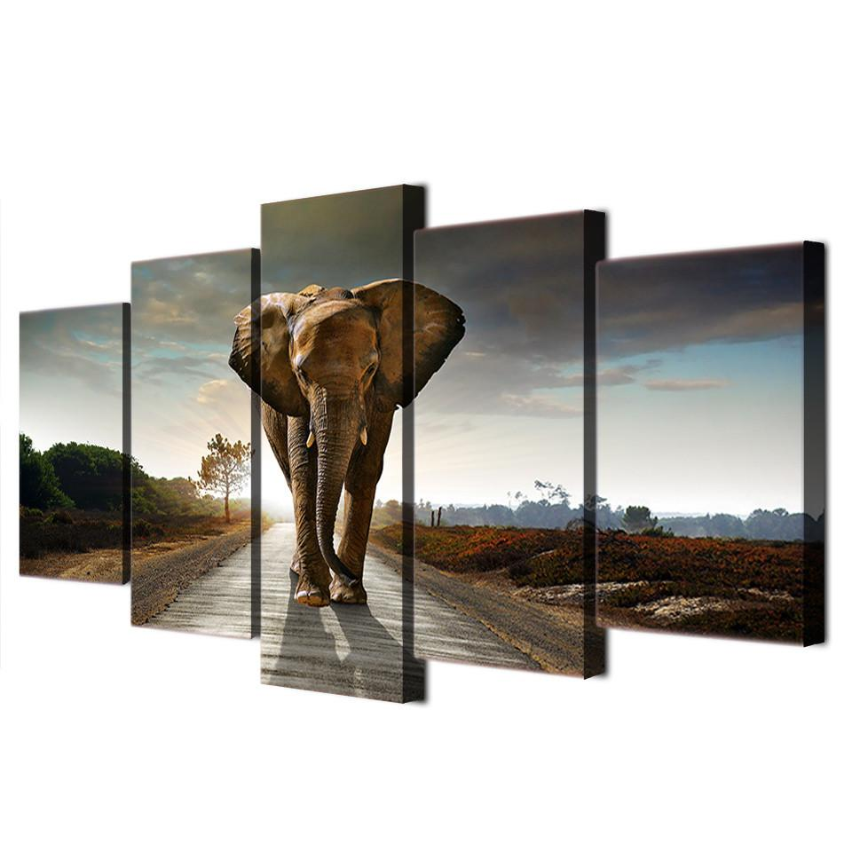 "Elephant ""On Modern Street"" Canvas"