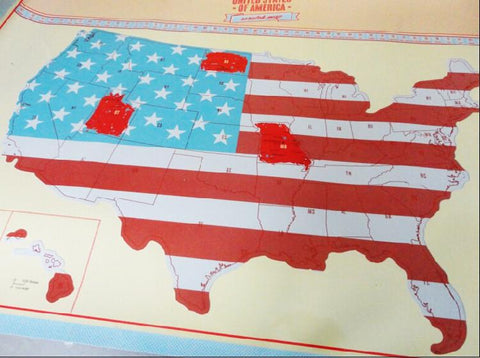 5 Panel Scratch Off Map Of America