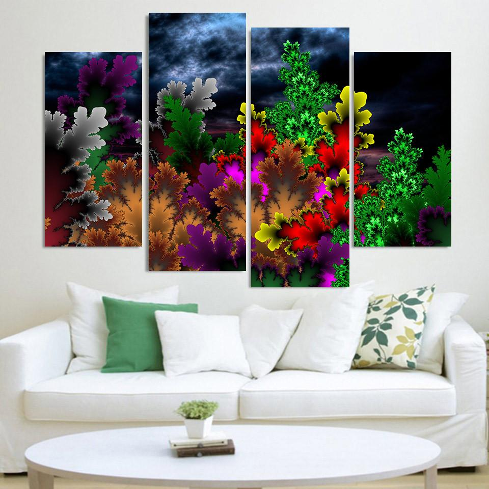 4 Piece Colorful Flower Pattern Canvas