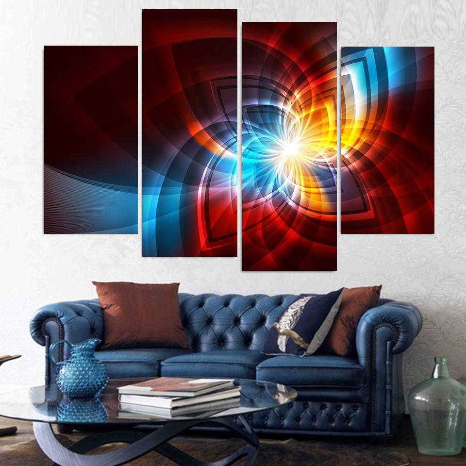 4 Piece Art Fractal Glow Line Canvas