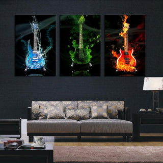3 Panel Abstract Colored Guitar