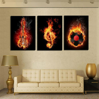 3 Panel Music and Guitar Canvas
