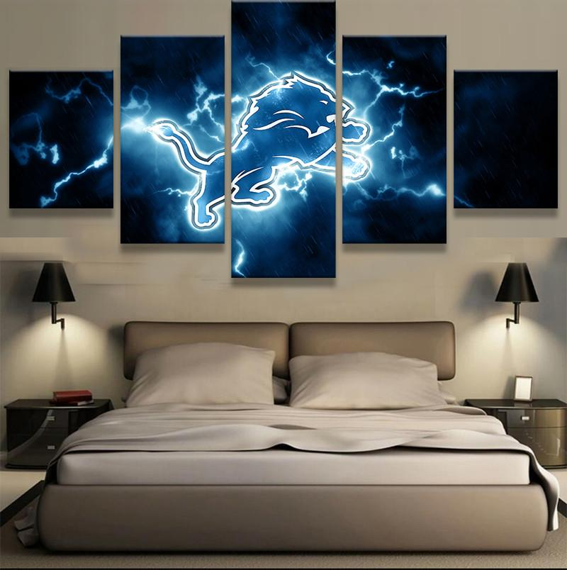 5 Piece Detroit Lions Canvas