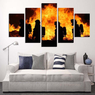 5 Panel Amazing Firefighter Canvas