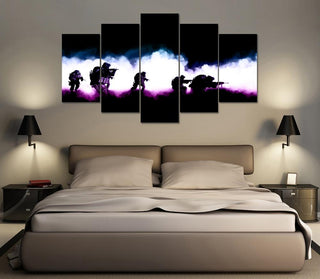 5 Panel American Soldier's In Smoke Canvas