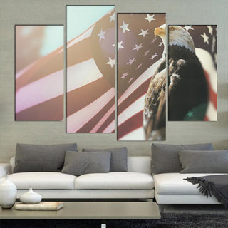 Bald Eagle Flag Canvas