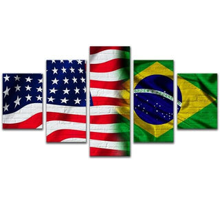 5 Piece American Brazil Flag Canvas