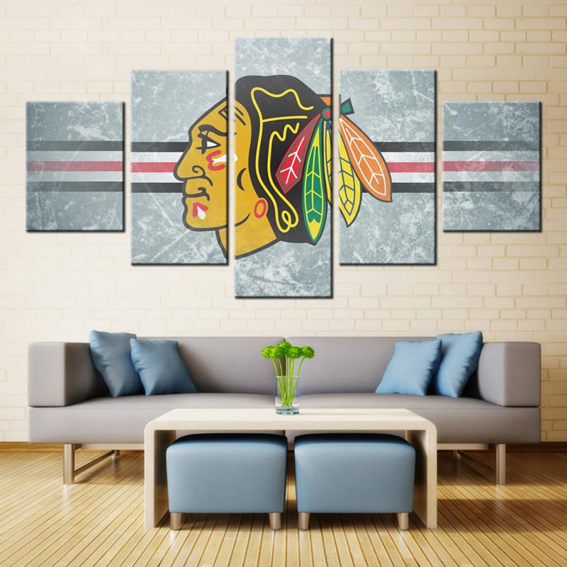 5 Piece Chicago Blackhawks Canvas