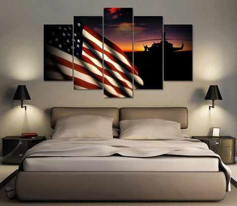 5 Panel American Flag With Helicopter Canvas