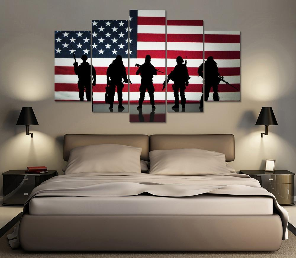 5 Panel Five Soldiers Of War American Canvas