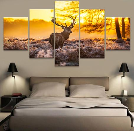 5 Panel Hunt The Elk Canvas