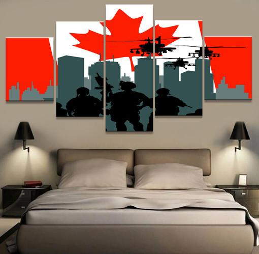 5 Panel Canadian Military Unit Canvas