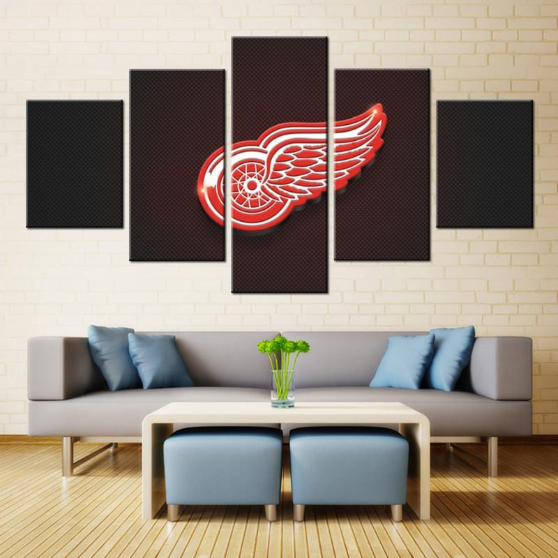 5 Piece Detroit Red Wings Canvas
