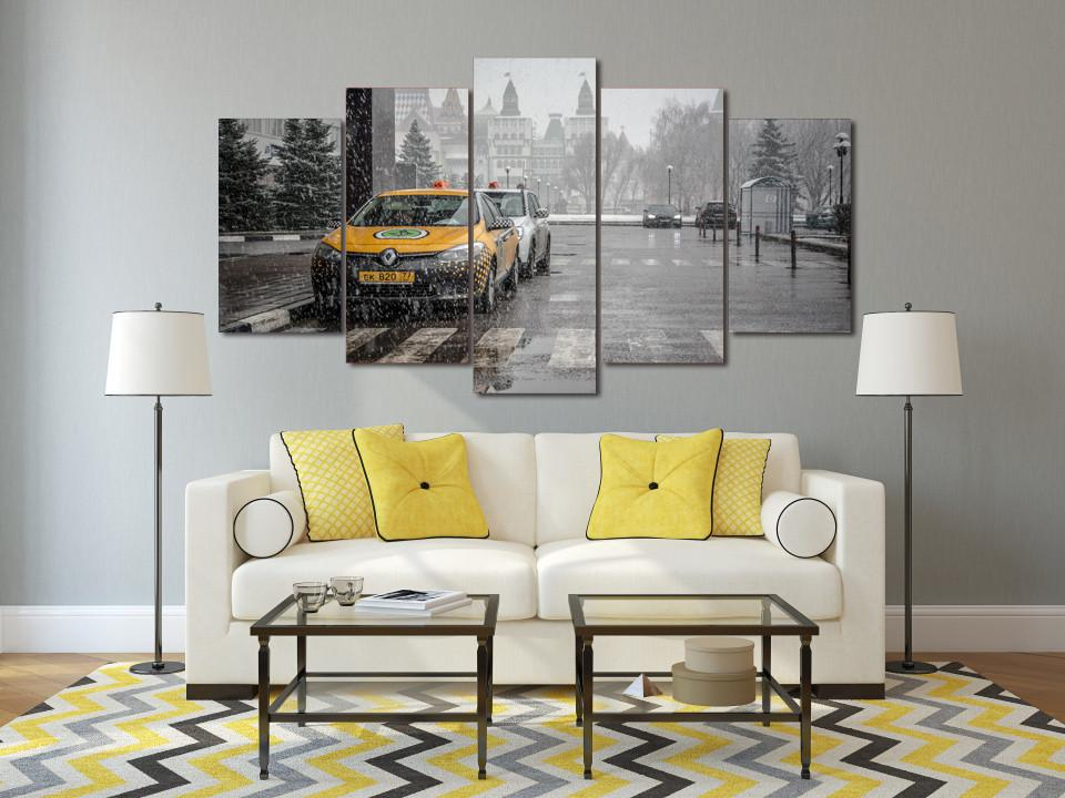 5 Piece Snowy Paris Canvas
