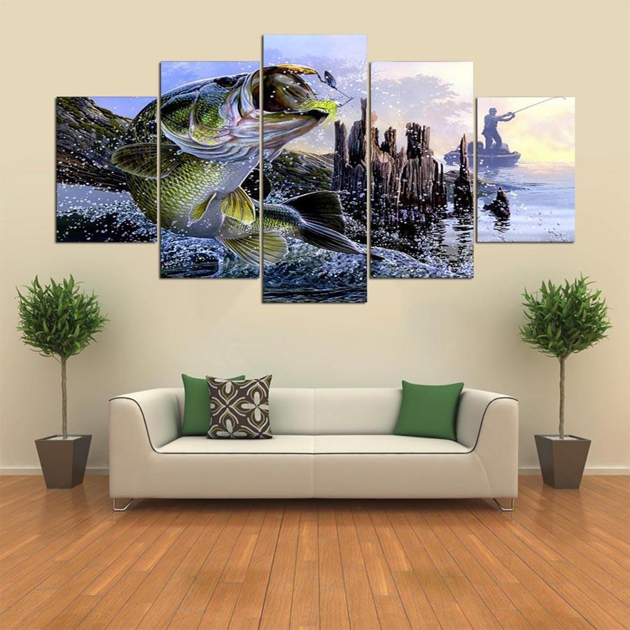 5 Panel Catch The Bass Fishing Canvas