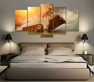 "Military ""Soldier With Battle Tank"" Canvas"