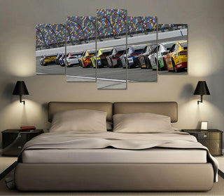 5 Panel Nascar Racing Canvas