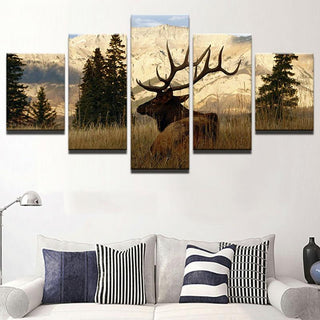 5 Panel Mountain Deer In Forest Canvas