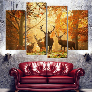 4 Panel Hunting Elk Canvas