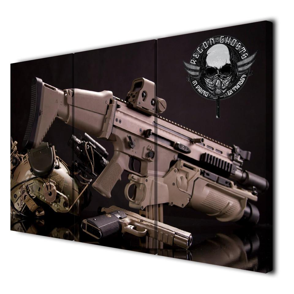 3 Panel Soldier Weapon Canvas