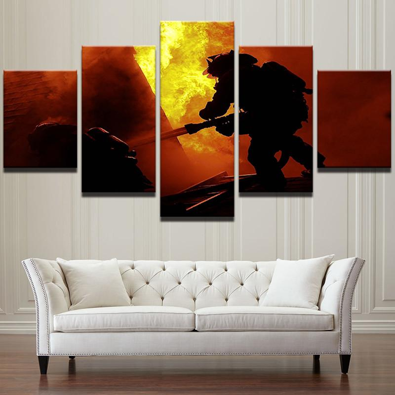"5 Panel ""Rescue Mission"" Firefighter Canvas"