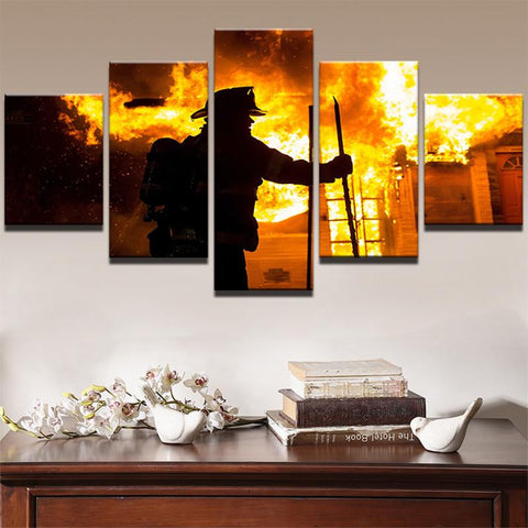 5 Panel The Hero Firefighter Canvas