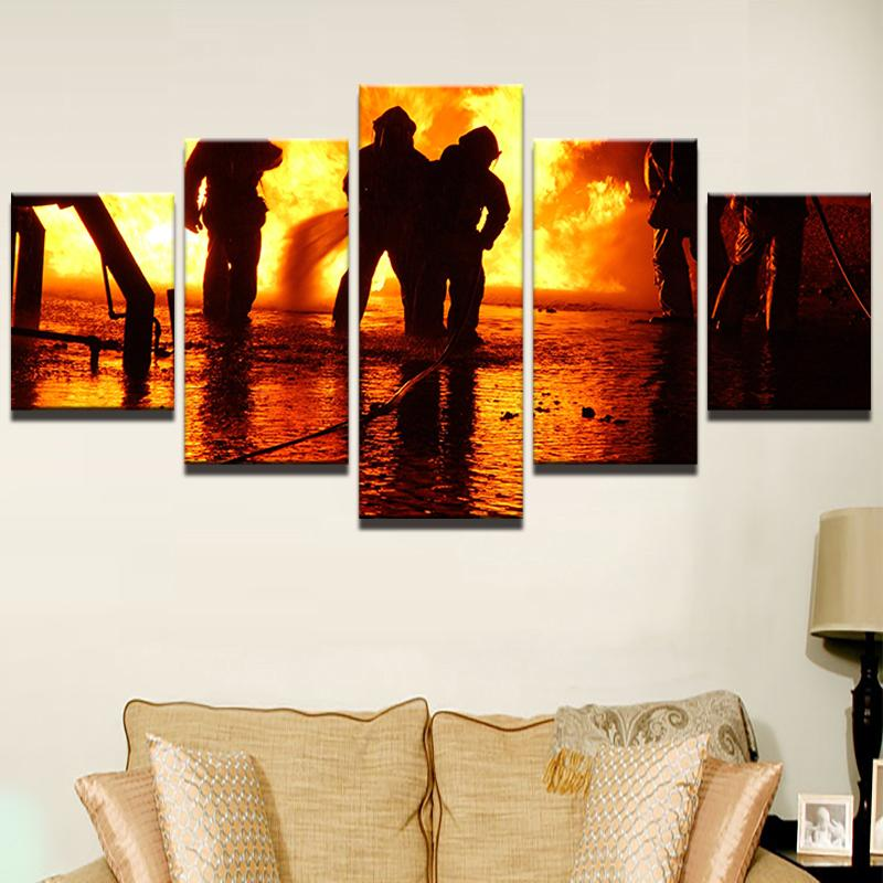 "5 Panel ""Take Out The Fire"" FireFighter Canvas"