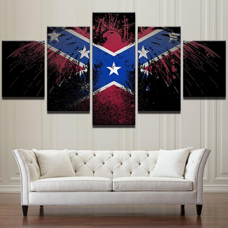 5 Panel Confederate Flag Eagle Canvas
