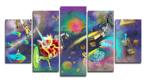5 Panel Adventure Time Rick & Morty Canvas