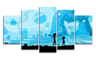 5 Panel Blue Rick & Morty Canvas