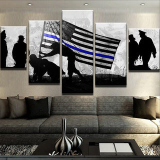 5 Panel American Thin Blue Line Soldiers Canvas