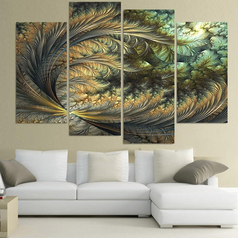 4 Panel Abstract Feather Art Canvas