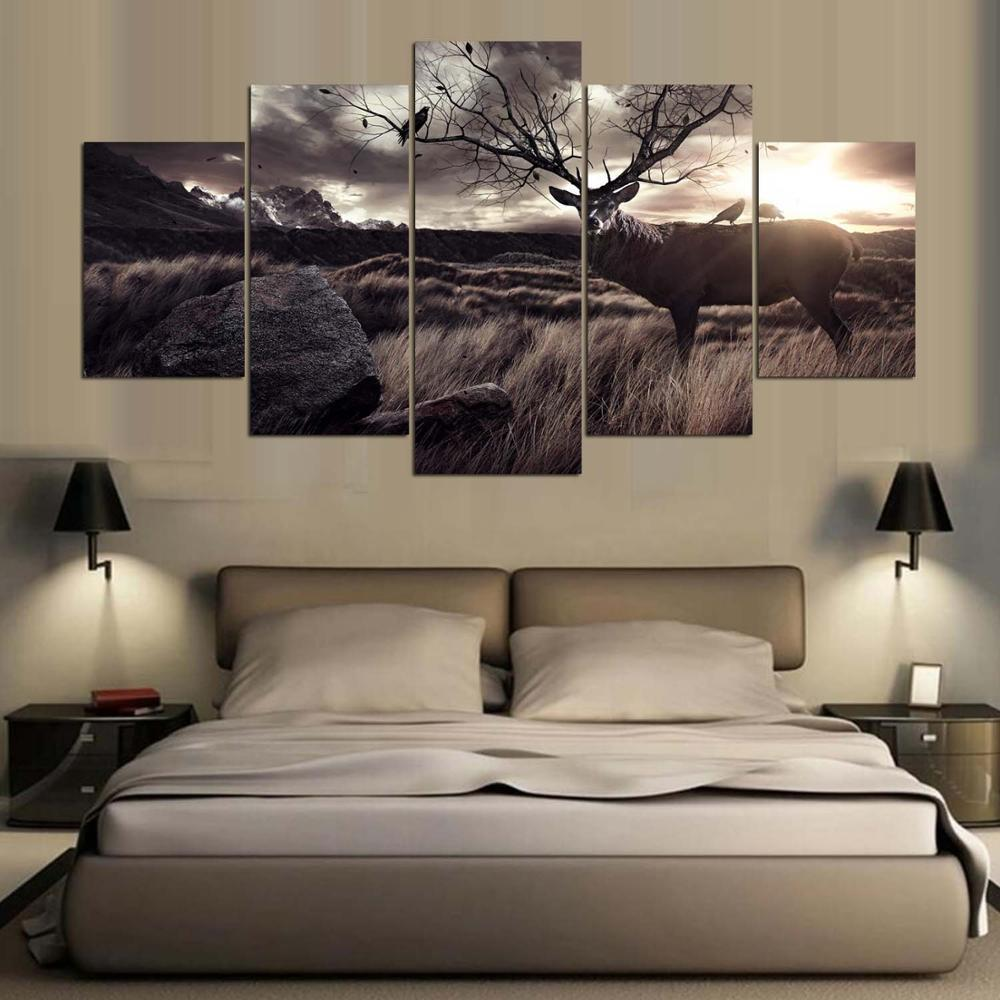 5 Panel Beautiful Sky And Deer Canvas