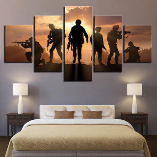 5 Panel Military Soldier In Sunset Canvas
