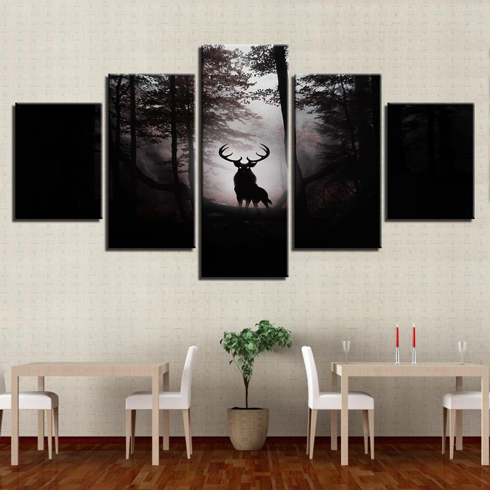 5 Panel Deer Prey In The Dark Wilderness Canvas