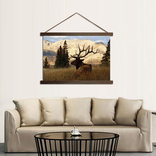 Mountain Deer In Forest Scroll Canvas