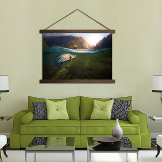 River Sea Fishing Scroll Canvas