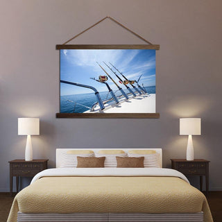 Fishing Rod On Boat Scroll Canvas