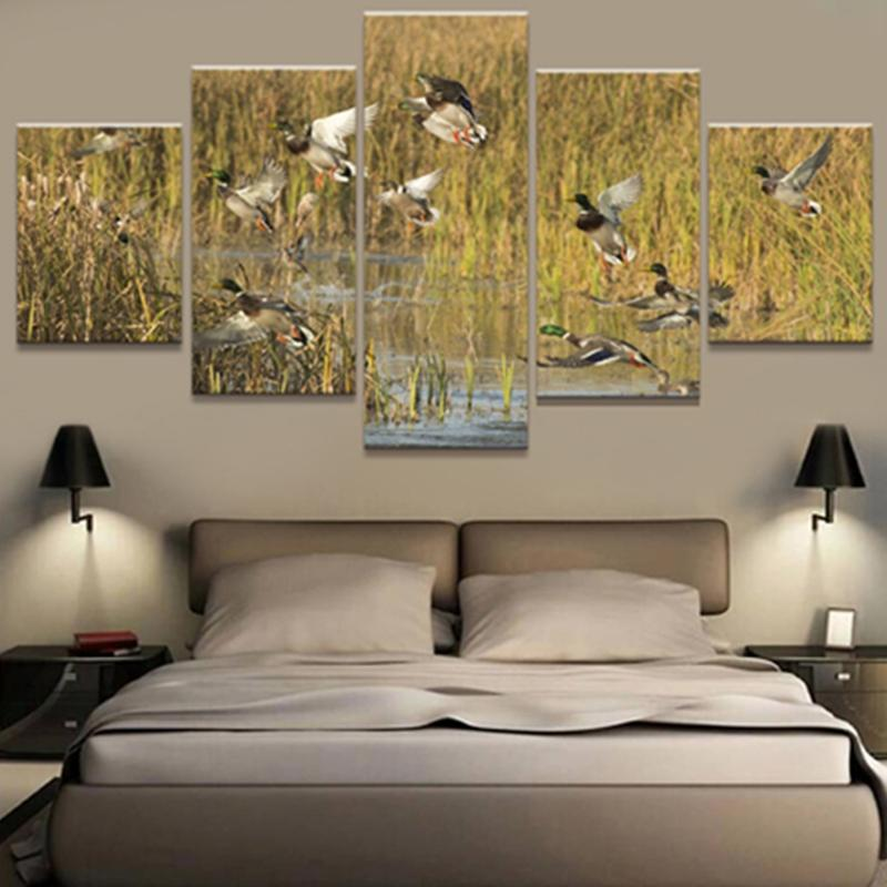 5 Panel Hunting Group Of Bird's Canvas