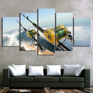 5 Panel Fishing Rod Blue Ocean Canvas